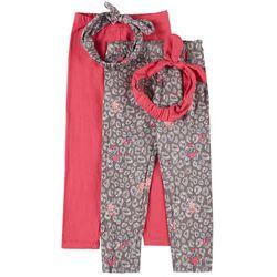 Little Girls Jersey Leggings & Headband Set
