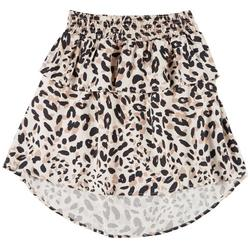 Big Girls Leopard Print Tiered Skirt