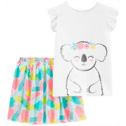 Little Girls 2-pc. Floral Koala Skirt Set