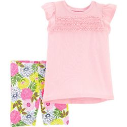 Little Girls 2-pc. Solid Tee & Tropical Shorts Set