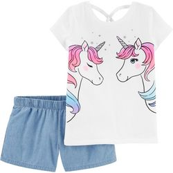 Little Girls 2-pc. Unicorn Tee & Chambray Shorts Set