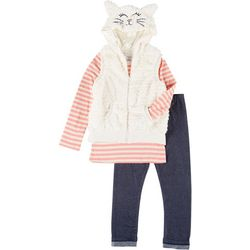 Forever Me Little Girls 3-pc. Cat Vest Set