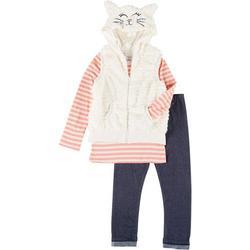 Little Girls 3-pc. Cat Vest Set
