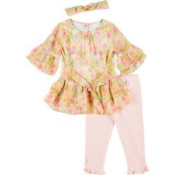 Little Girls 3-pc. Tropical Floral Leggings Set