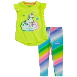 Crayola Little Girls 2-pc. Unicorn Rainbow Leggings Set