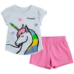 Crayola Little Girls 2-pc. Unicorn Shorts Set