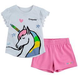 Little Girls 2-pc. Unicorn Shorts Set
