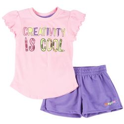 Little Girls 2-pc. Creativity Is Cool Shorts Set