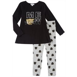 Flapdoodles Little Girls 2-pc. Meow Long Sleeve Leggings