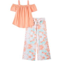 No Comment Big Girls 2-pc. Solid Top and Tie Dye Pant Set