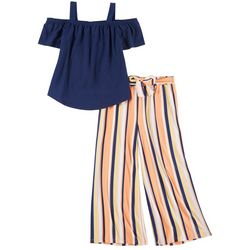 No Comment Big Girls 2-pc. Solid Top and Wide Leg Pant Set