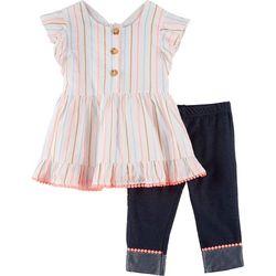 Little Girls Striped Pom Pom Leggings Set