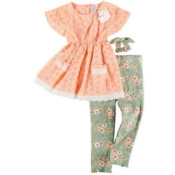 Little Lass Little Girls 3-pc. Floral Pant Set