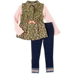 Little Girls 3-pc. Floral Vest Set