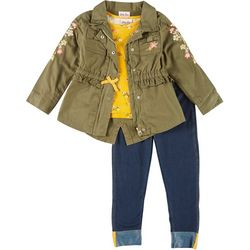 Little Girls 3-pc. Floral Embroidery Jacket Set