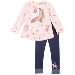 Little Lass Little Girls 2-pc. Sequin Unicorn Leggings