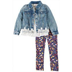 Little Girls 3-pc. Floral Denim Jacket Set
