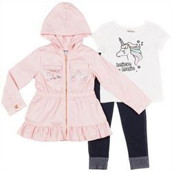 Little Lass Little Girls 3-pc. Unicorn Jacket & Leggings Set