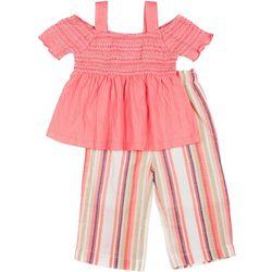 Little Girls Off Shoulder Top & Stripe Pant Set