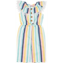 Little Lass Little Girls Stripe Faux Linen Jumpsuit