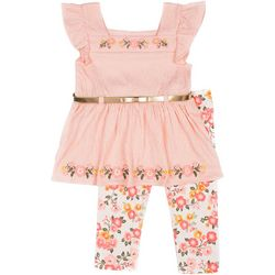 Little Girls Floral Gauze Leggings Set