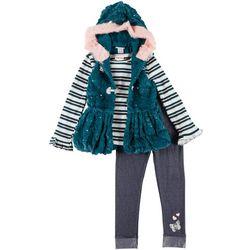 Little Girls 3-pc.  Stripe Tee & Fur Vest Set