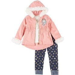 Little Lass Little Girls 3-pc. Unicorn Jacket & Leggings Set