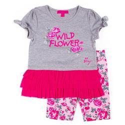 Little Girls Wild Flower Bike Shorts Set