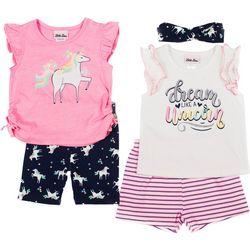 Little Girls 5-pc. Unicorn Shorts Set