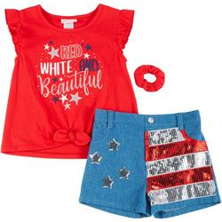 Little Girls Americana Shorts Set