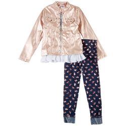 Little Girls 3-pc. Metallic Jacket Set