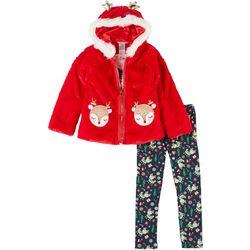 Little Girls 3-pc. Xmas Fur Jacket Set