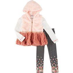 Little Girls 3-pc. Fur Vest Set