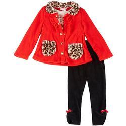 Little Girls 3-pc. Leopard Coat Set