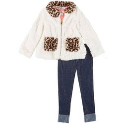 Little Lass Little Girls 3-Pc. Leopard Cat Leggings Set