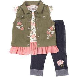 Little Girls 3-pc. Floral Vest Leggings Set