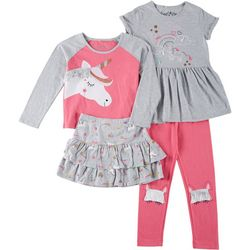 Freestyle Little Girls 4-pc. Unicorn Skirt Set