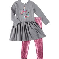 Freestyle Little Girls 2-pk. Metallic Unicorn Leggings Set