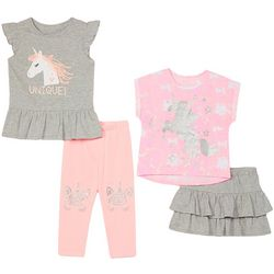 Little Girls 4-pc. Unique Unicorn Skirt Set