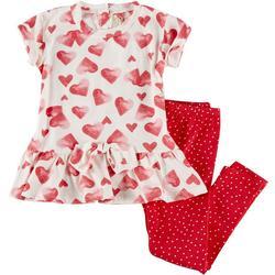 Little Girls 2-pc. Heart Leggings Set