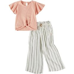 Jessica Simpson Little Girls 2-pc. Tie Belt Stripe Pant Set