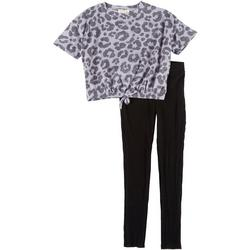 Big Girls Leopard Print Top & Leggings