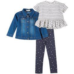 Little Girls 3-Pc. Star Leggings Set