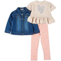 Little Girls 3-Pc. Heart Leggings Set