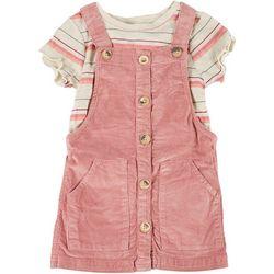 Little Girls Solid Skirtall & Stripe Tee