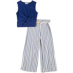 Jessica Simpson Big Girls Twist Front Top & Striped Pants