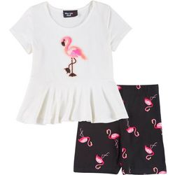Pinc Little Girls 2-pc. Flamingo Shorts Set