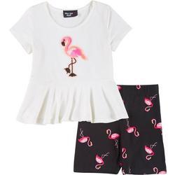 Little Girls 2-pc. Flamingo Shorts Set