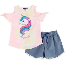 RMLA Big Girls 2-pc. Tie Dye Unicorn Tee & Shorts Set