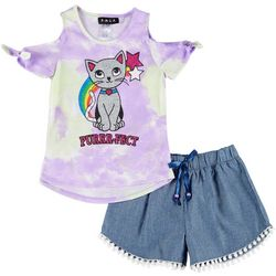 Little Girls 2-pc. Tie Dye Kitty Cat Tee & Shorts Set